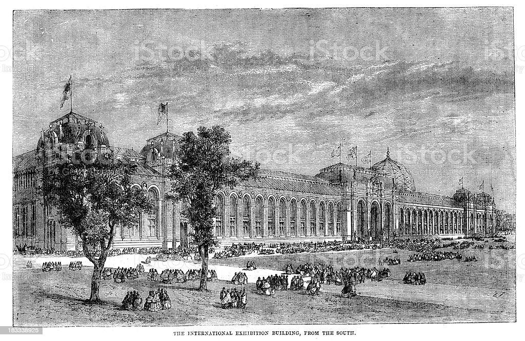 International Exhibition Building 1862 royalty-free stock vector art