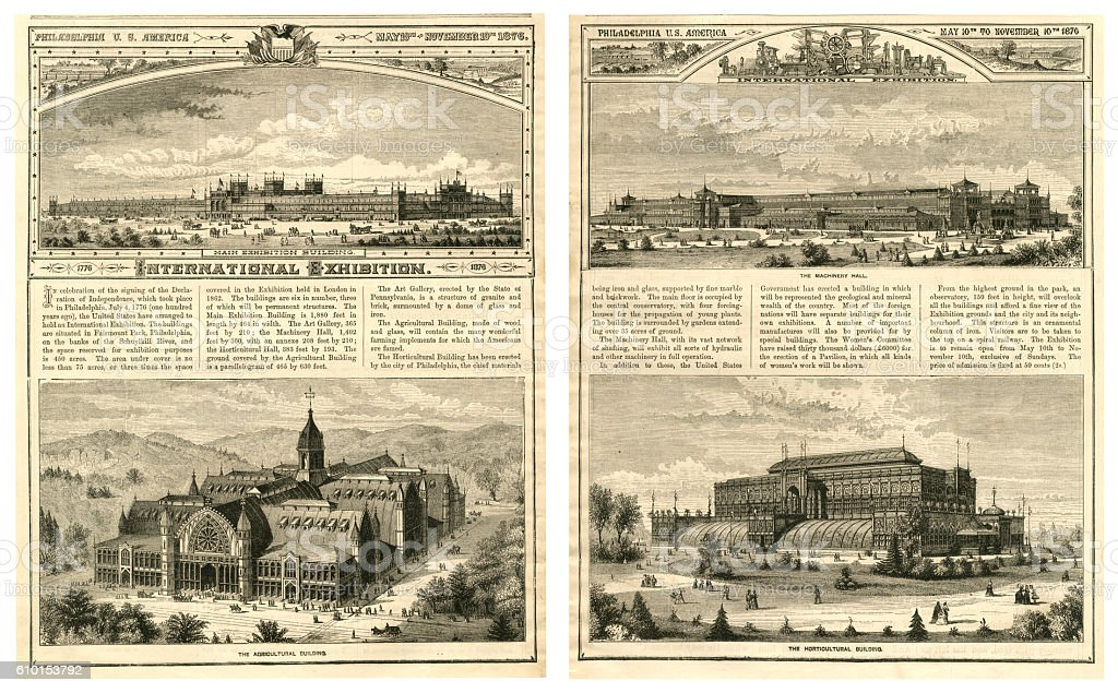 International Exhibition in Philadelphia, USA, in 1876 vector art illustration