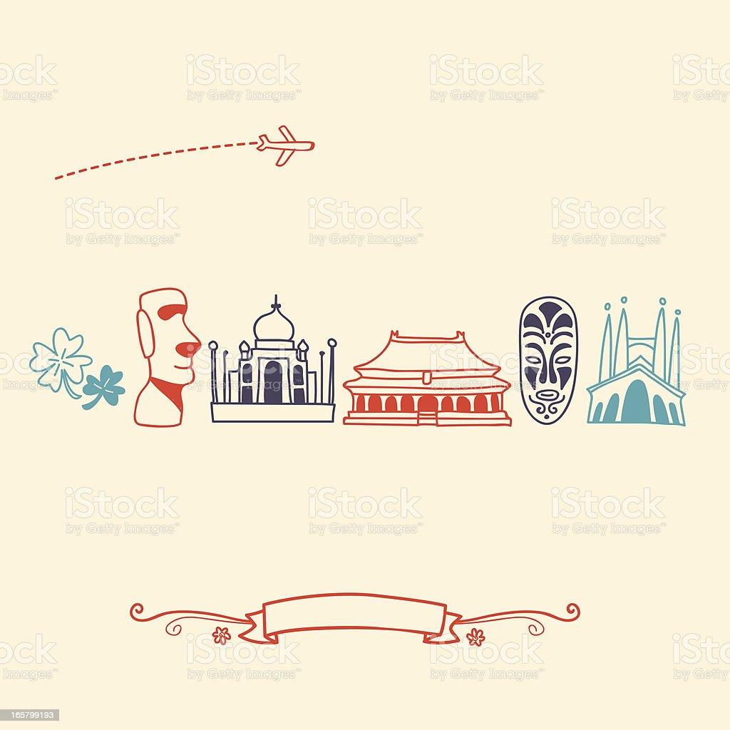 International Icons, landmarks and travel destinations cityscape set royalty-free stock vector art