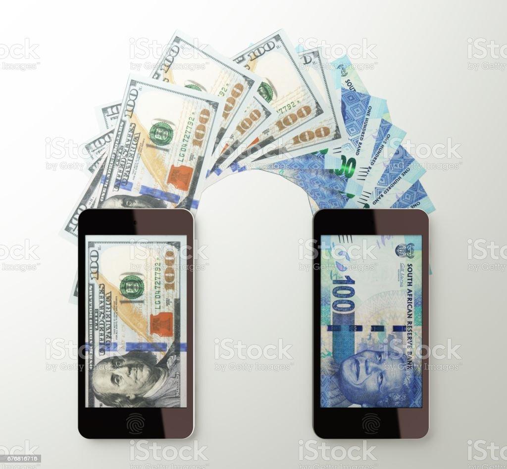 International mobile money transfer, Dollar to South African rand vector art illustration