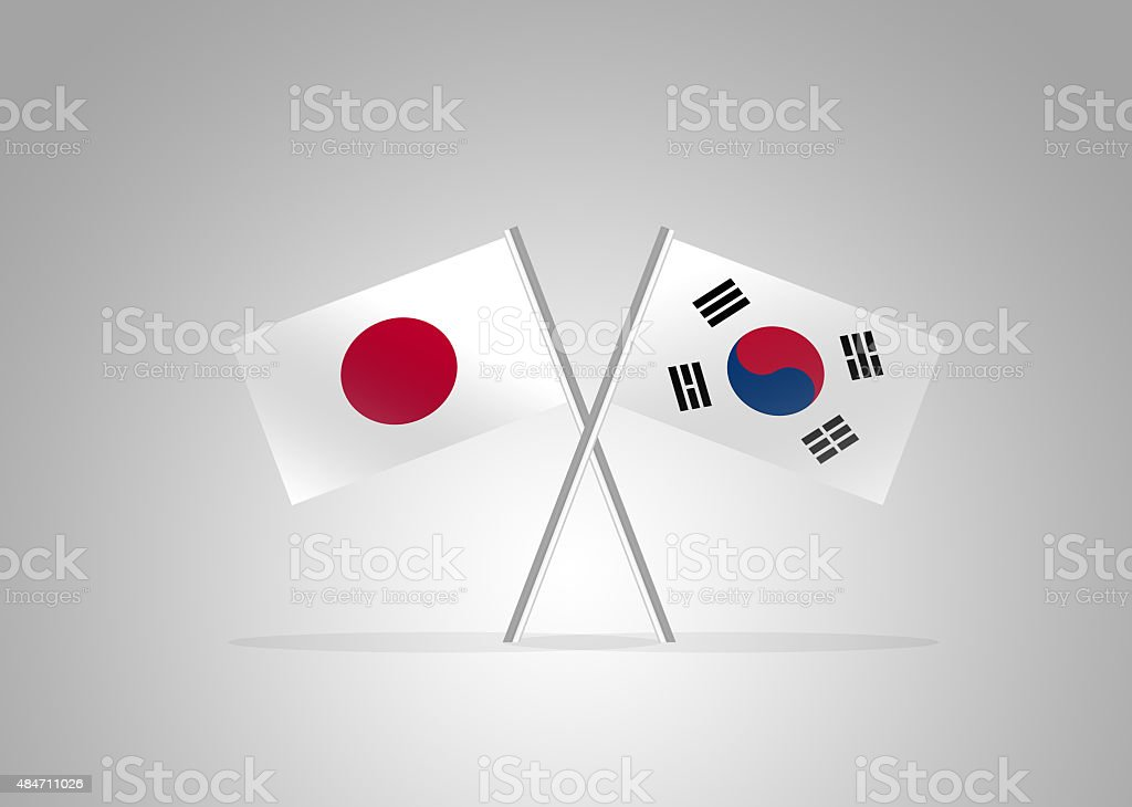 International Relations between Japan and South Korea vector art illustration