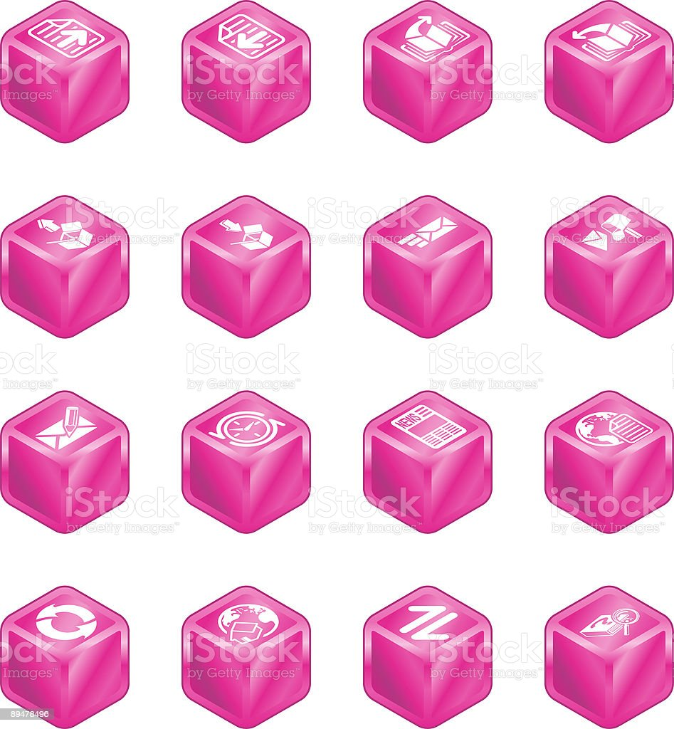 Internet Browser and Email Cube Icon Set Series royalty-free stock vector art