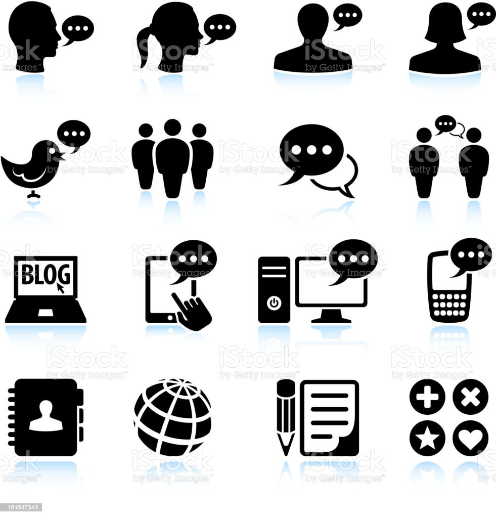 internet chat and online communications black & white icon set vector art illustration
