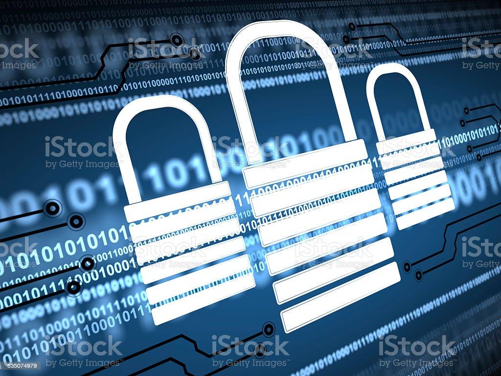 Internet Cyber Security vector art illustration