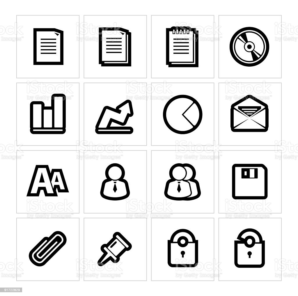 Internet data icons | Thick outline series royalty-free stock vector art