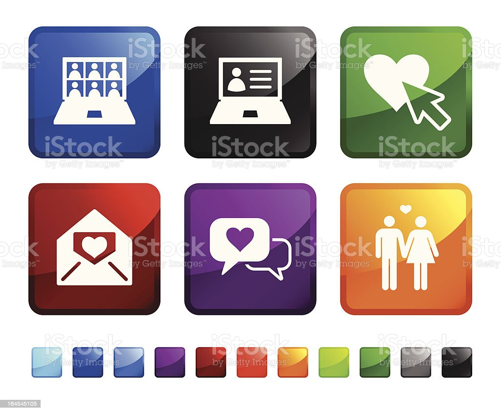 Internet romance and online dating vector icon set stickers royalty-free stock vector art