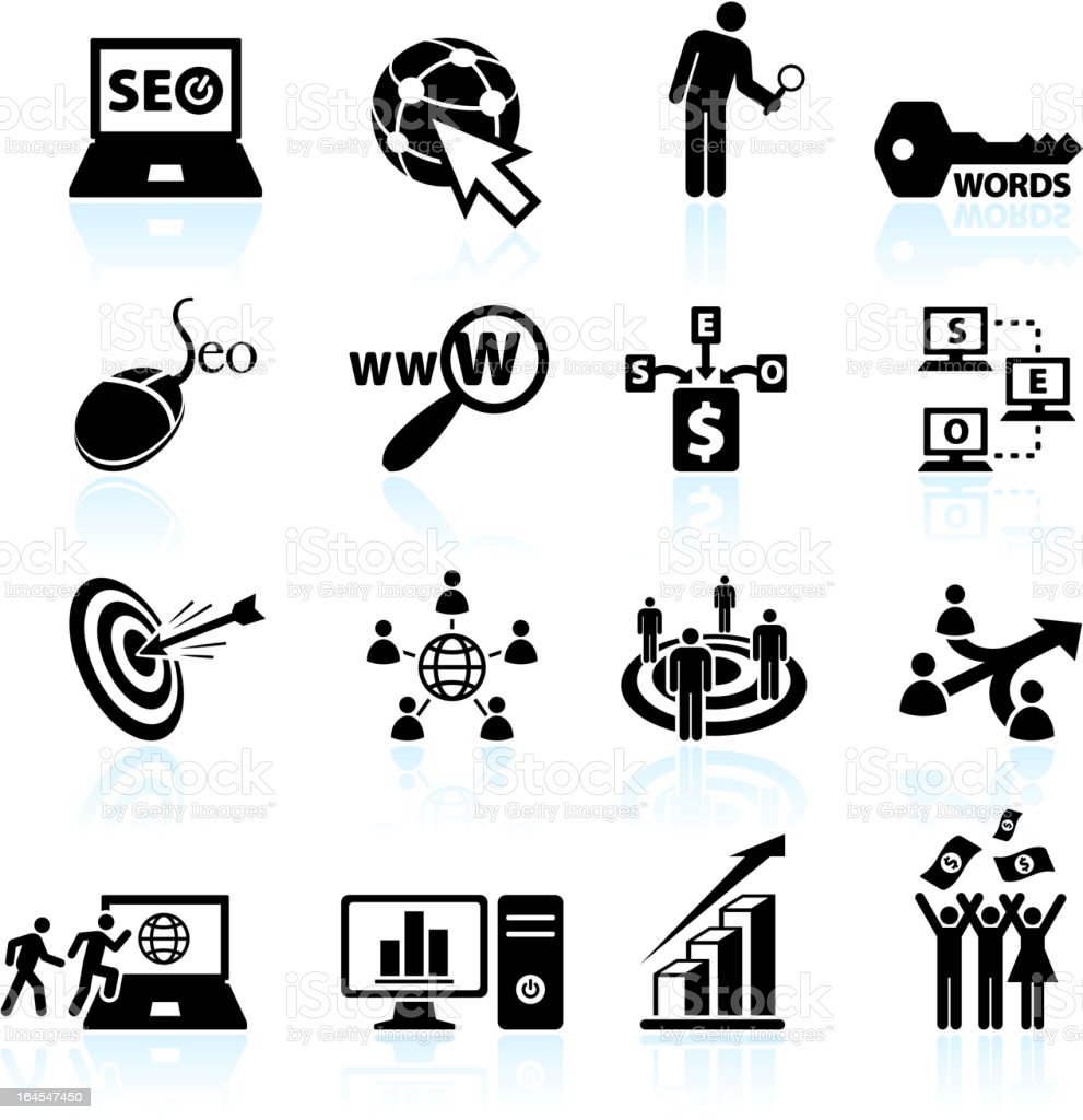Internet Search Engine Optimization black and white vector icon set royalty-free stock vector art