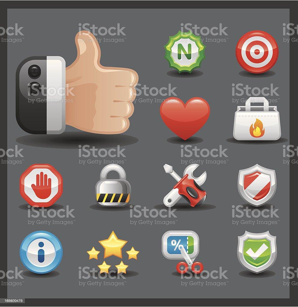 Internet & Web Icon Set   Shiny Series / Dark royalty-free stock vector art