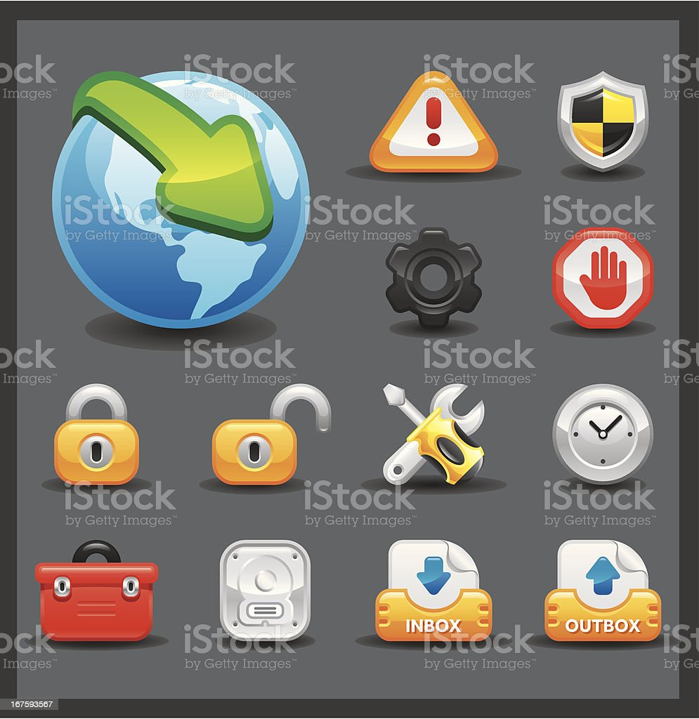 Internet & Web Icon Set | Shiny Series / Dark vector art illustration