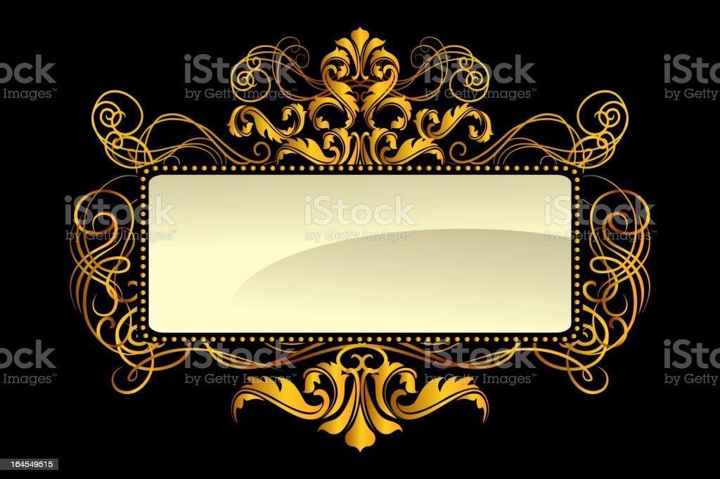 Intricate Gold Frame vector art illustration