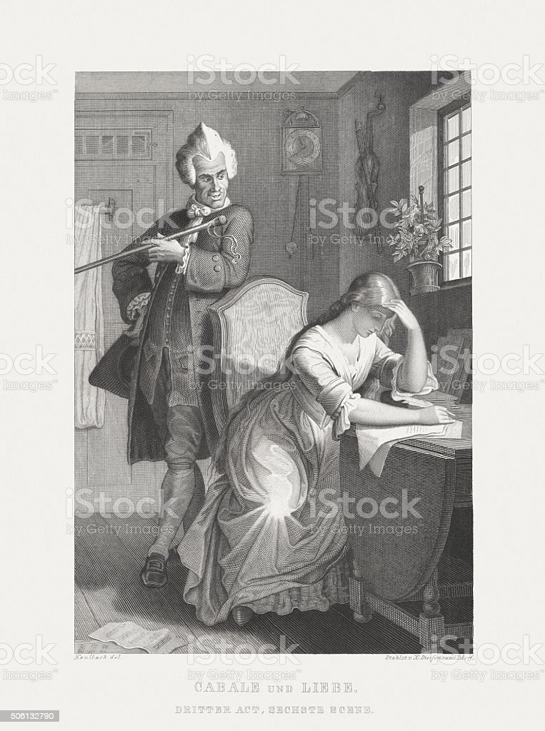 Intrigue and Love by Friedrich Schiller, published in 1869 vector art illustration