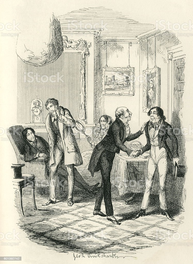 Introductions and gossip in a Victorian house vector art illustration