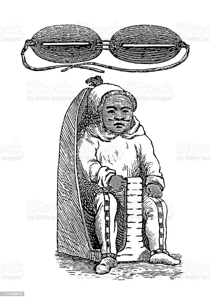 Inuit artefacts (antique wood engraving) vector art illustration