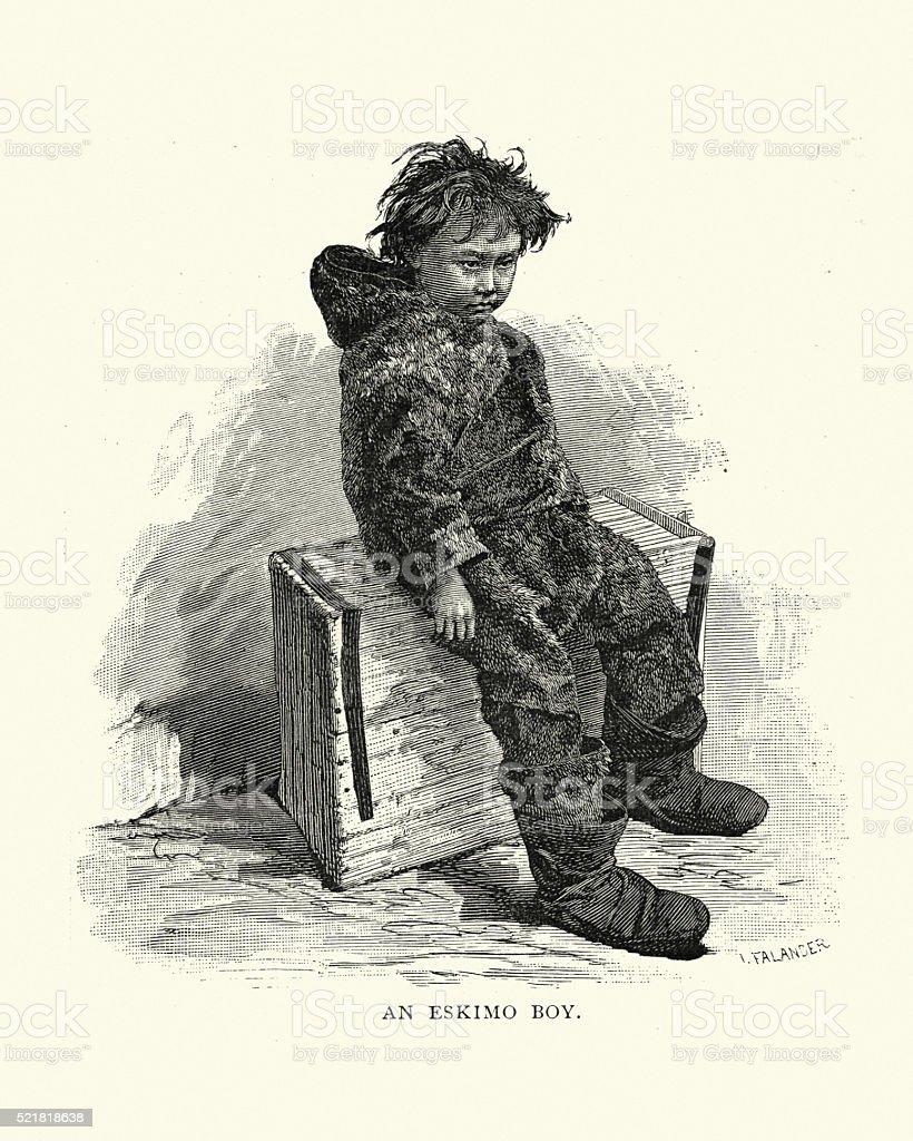Inuit Boy, 19th Century vector art illustration