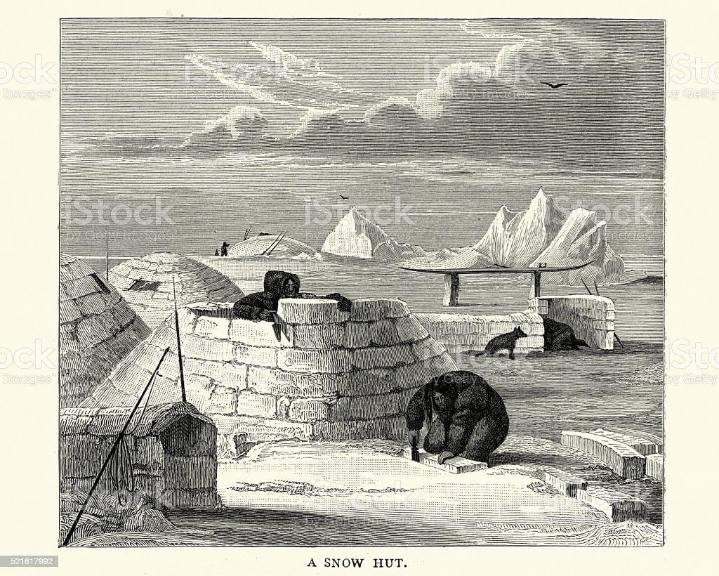 Inuit building an igloo, 19th Century vector art illustration