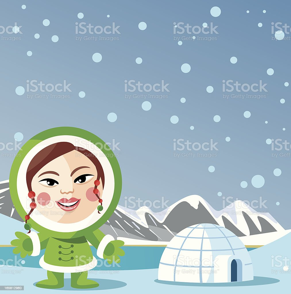 inuit child and snow royalty-free stock vector art