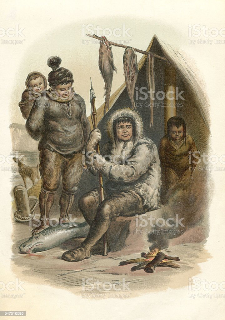 Inuit family sitting at fireplace with fish engraving 1880 vector art illustration