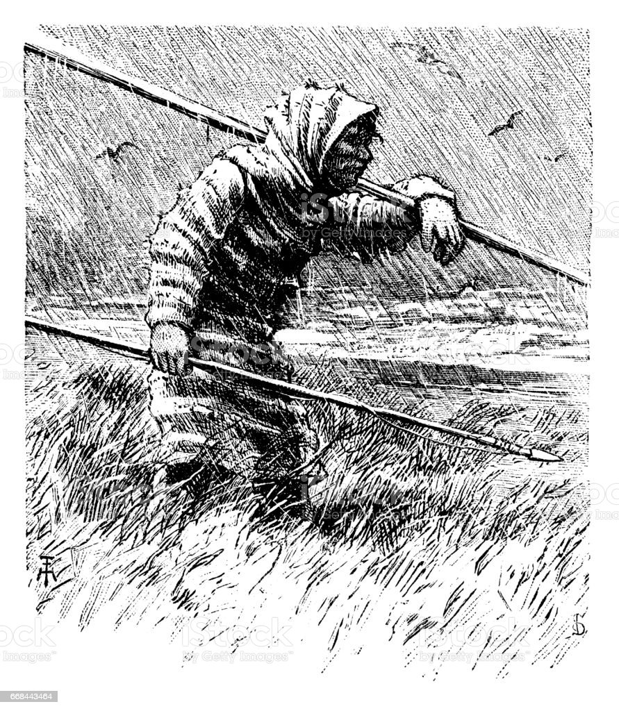 Inuit Hunter vector art illustration