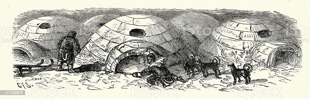 Inuits building an Igloo vector art illustration