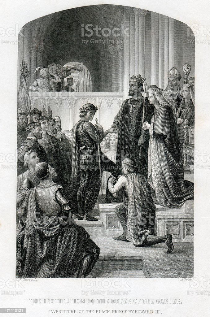 Investiture of the Black Prince by Edward III vector art illustration