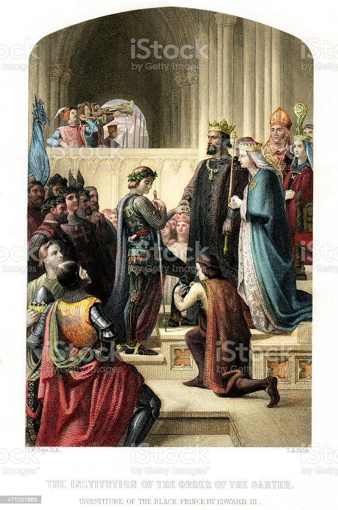 Investiture of the Black Prince by Edward III royalty-free stock vector art
