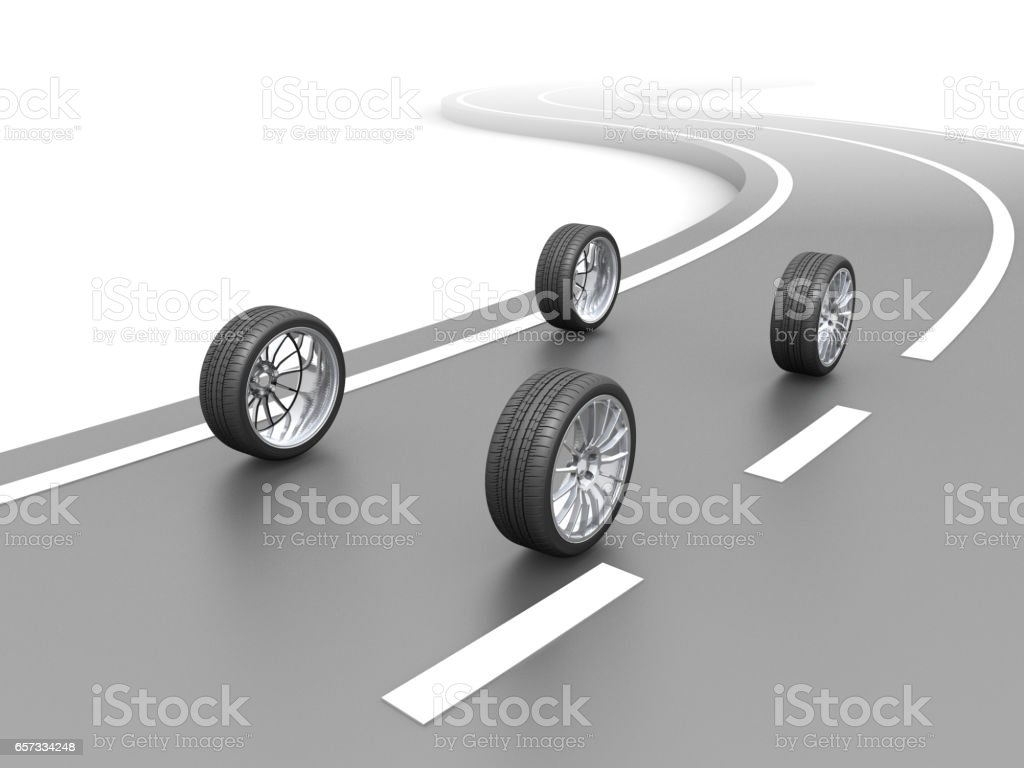 Invisible Car and Real Wheels on The Road vector art illustration