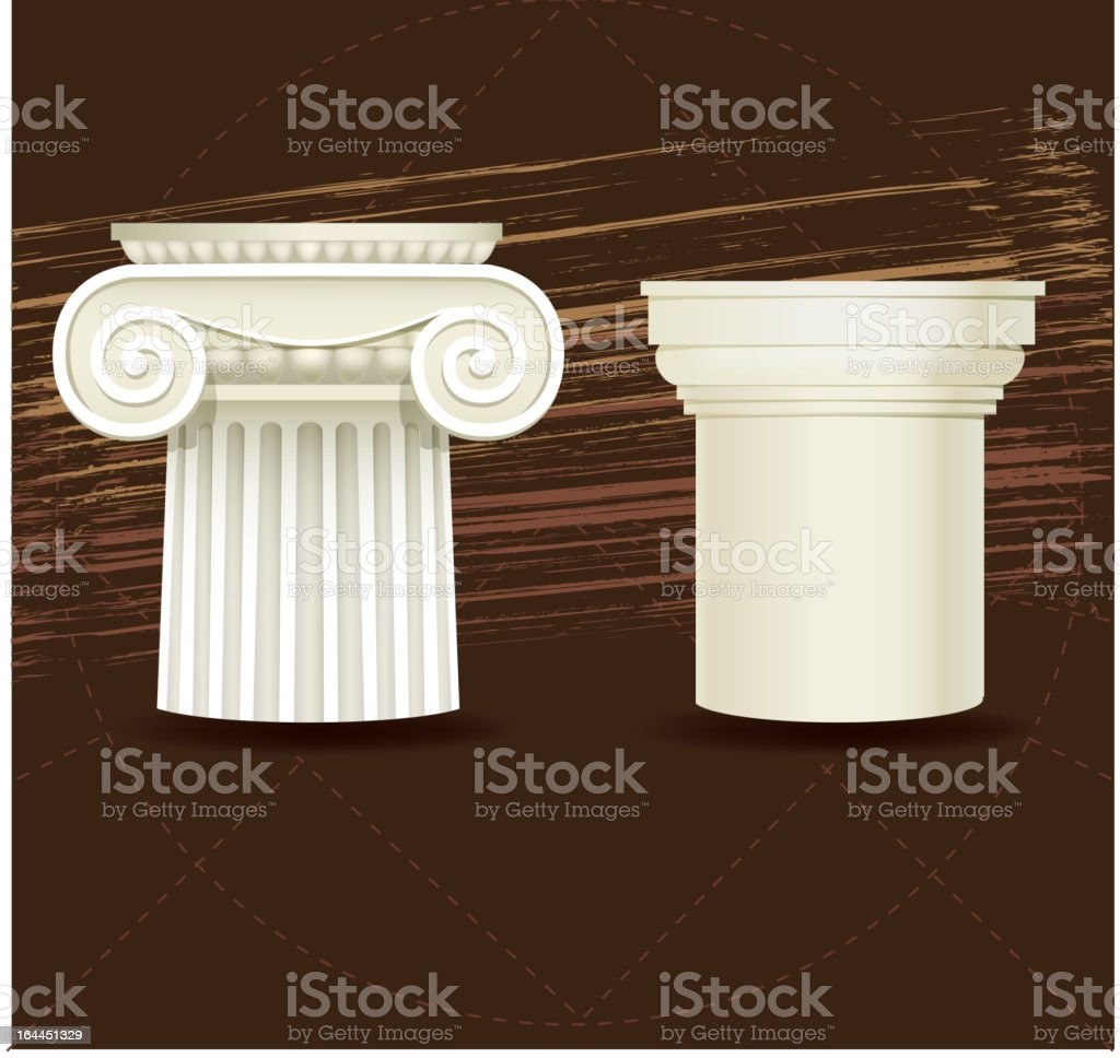 Ionic and Doric architectural details royalty-free stock vector art