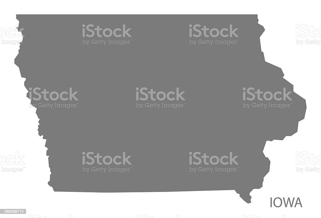 Iowa USA Map grey vector art illustration