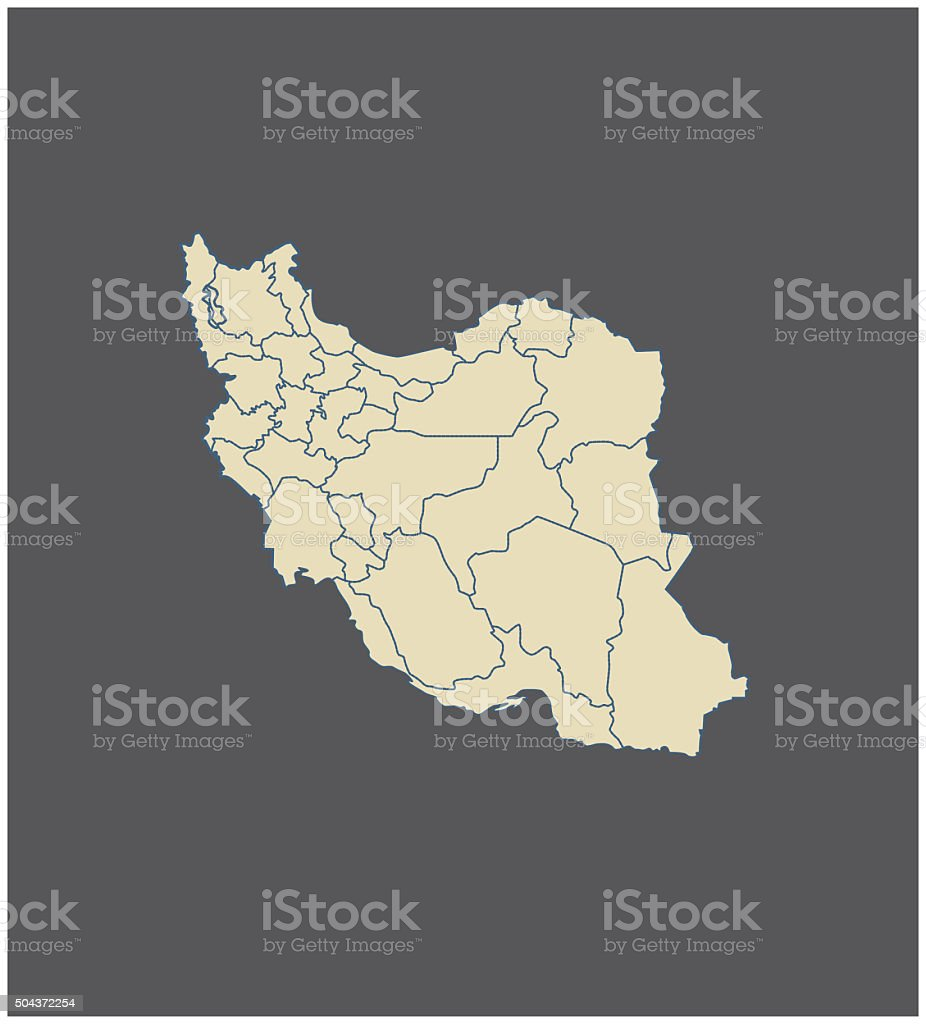 Iran map outline vector in gray background vector art illustration