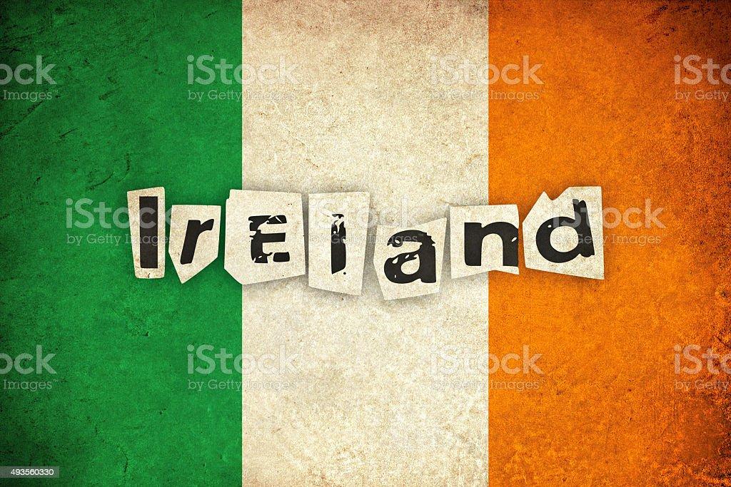 Ireland grunge flag with text vector art illustration
