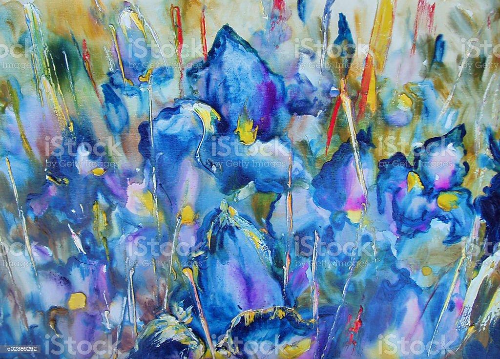 Iris flower vector art illustration