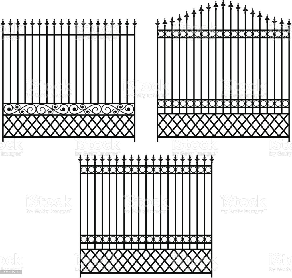 Iron Fencing Set-1 royalty-free stock vector art
