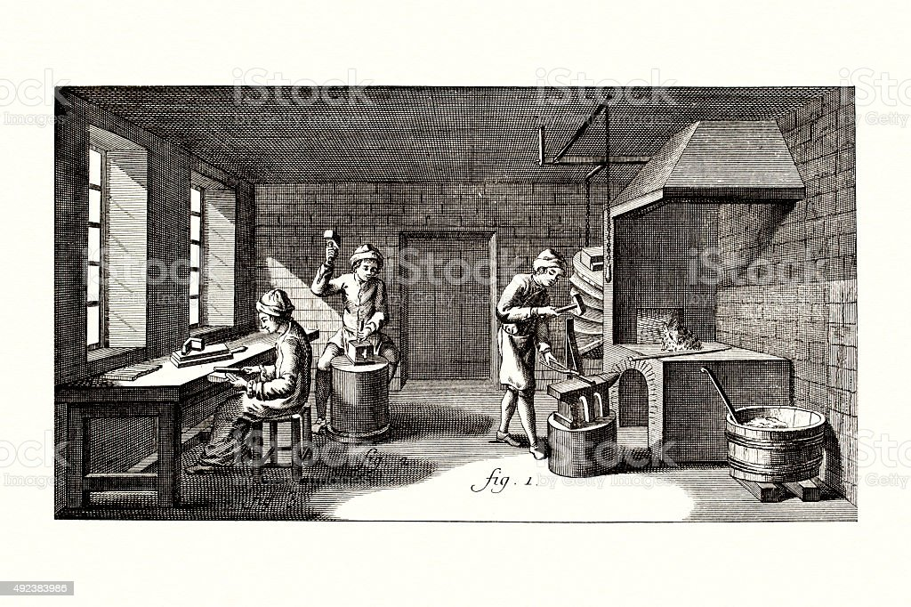 Ironworking 18 century Diderot Encyclopedia vector art illustration
