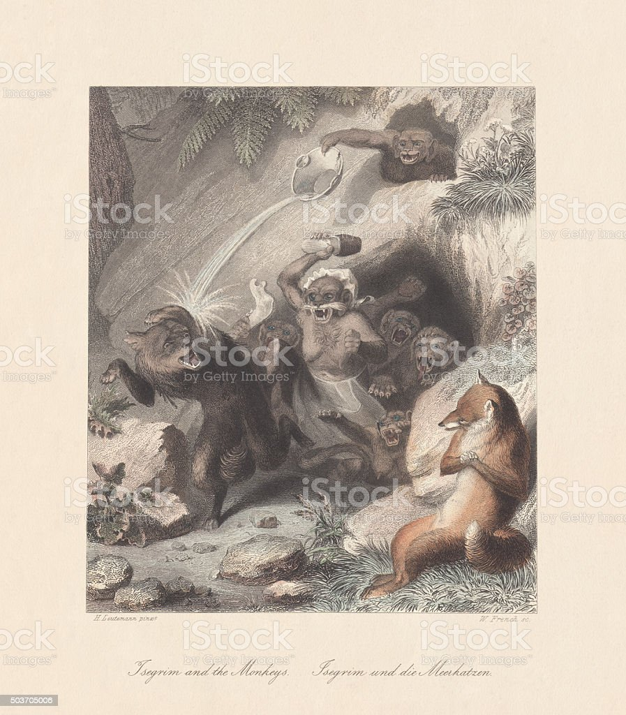 Isegrim and the Monkeys. From 'Reynard the Fox', published c.1855 vector art illustration