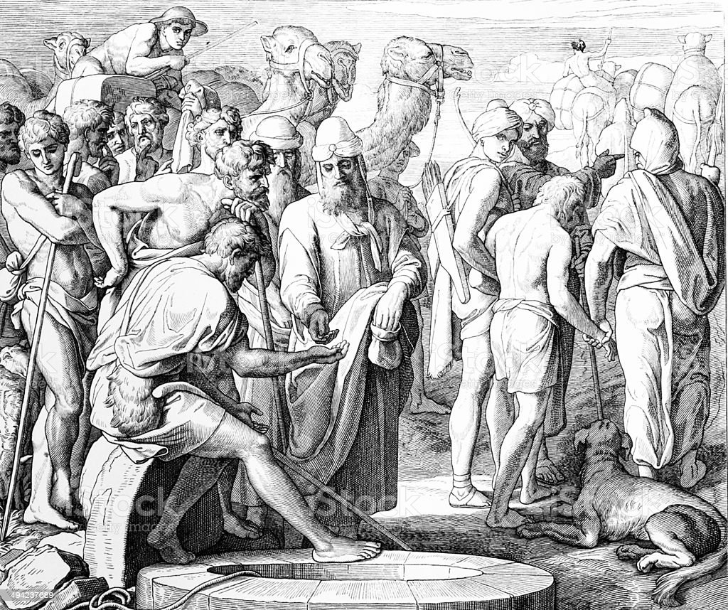 Ishmaelites purchase Joseph royalty-free stock vector art