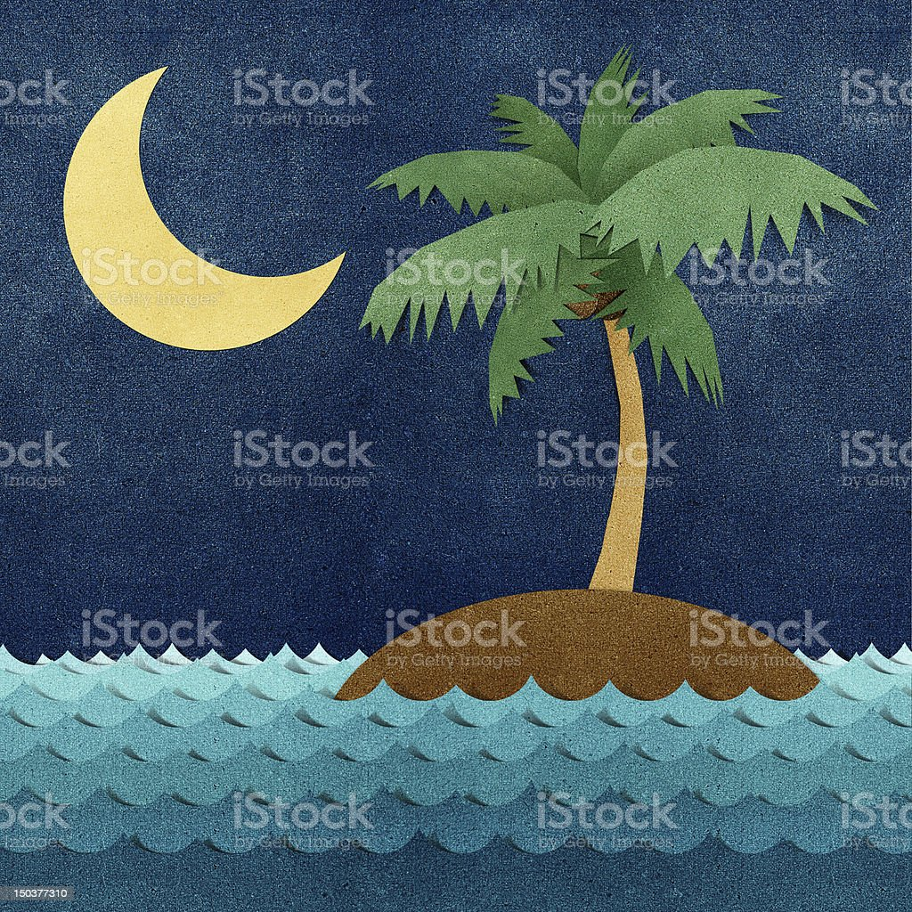 Island and sea recycled paper craft royalty-free stock vector art
