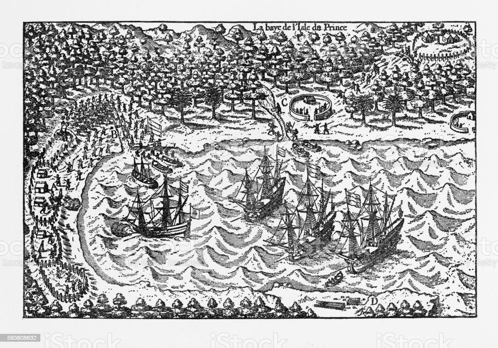 Island of Principe Historical Map by Van Noort, Circa 1598 vector art illustration