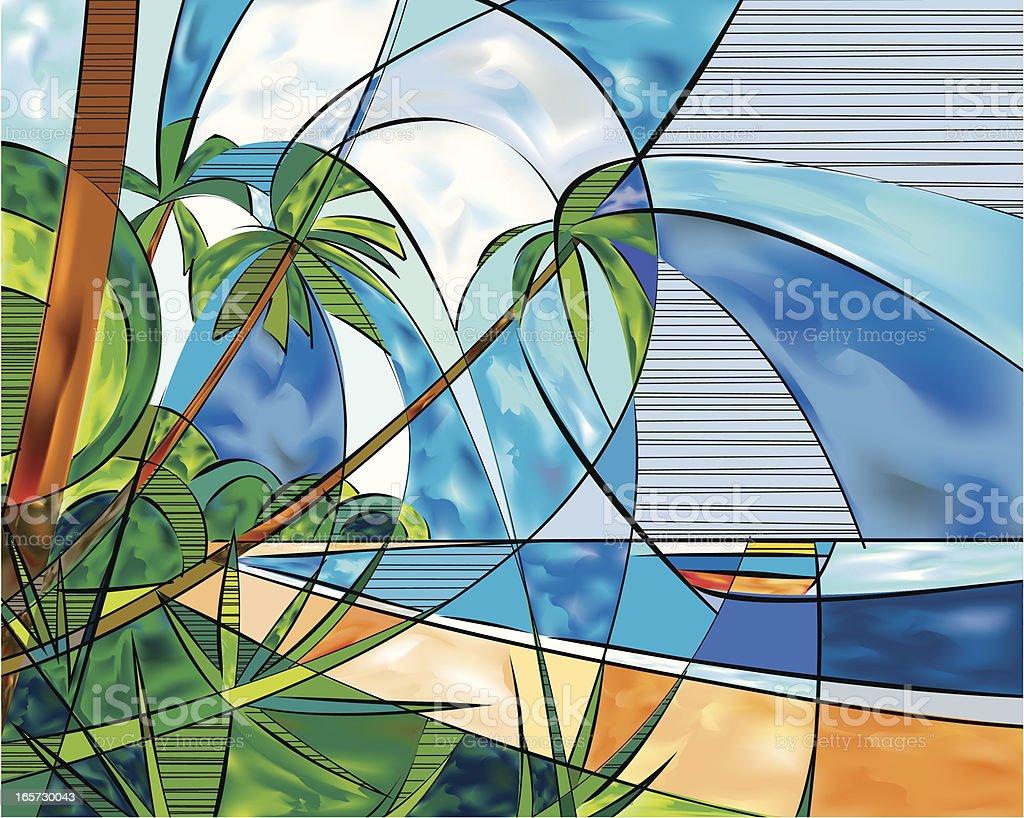 Island Paradise vector art illustration