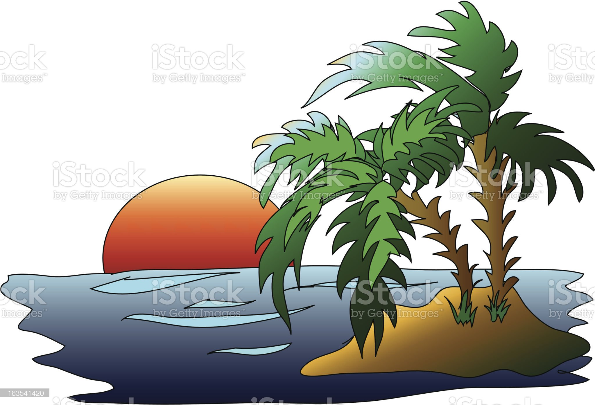 Island Sunset (Vector) royalty-free stock vector art
