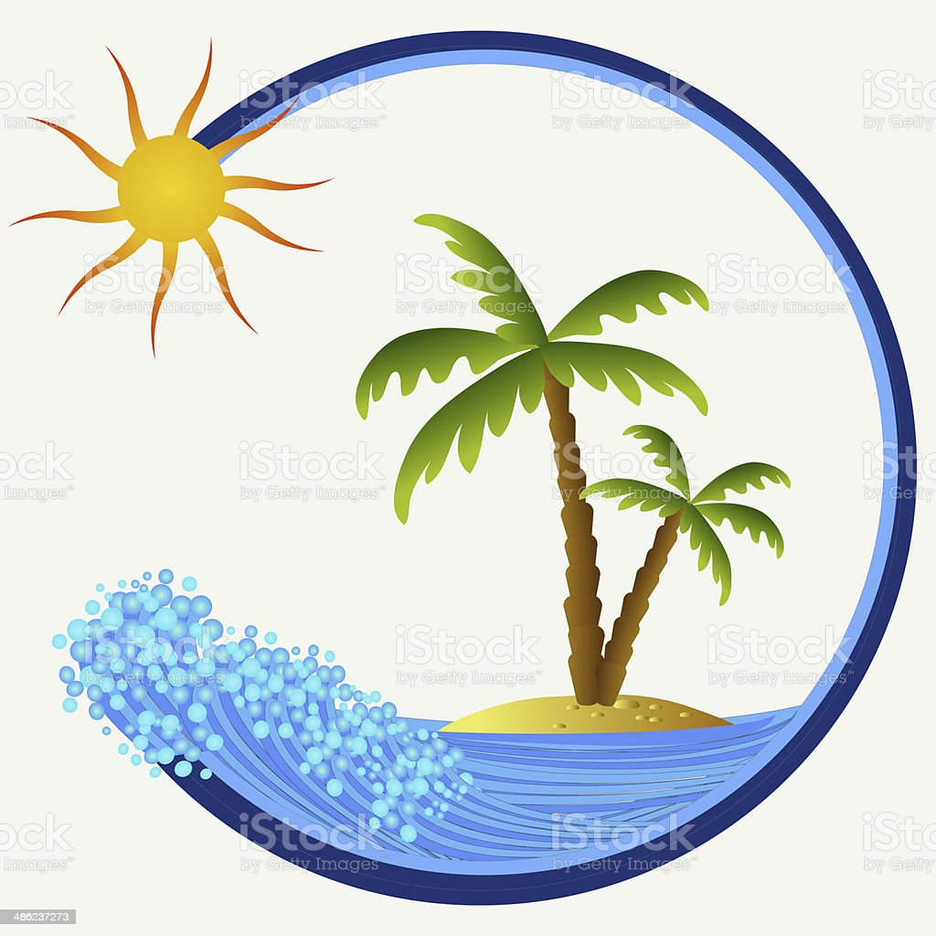 island with palms vector art illustration