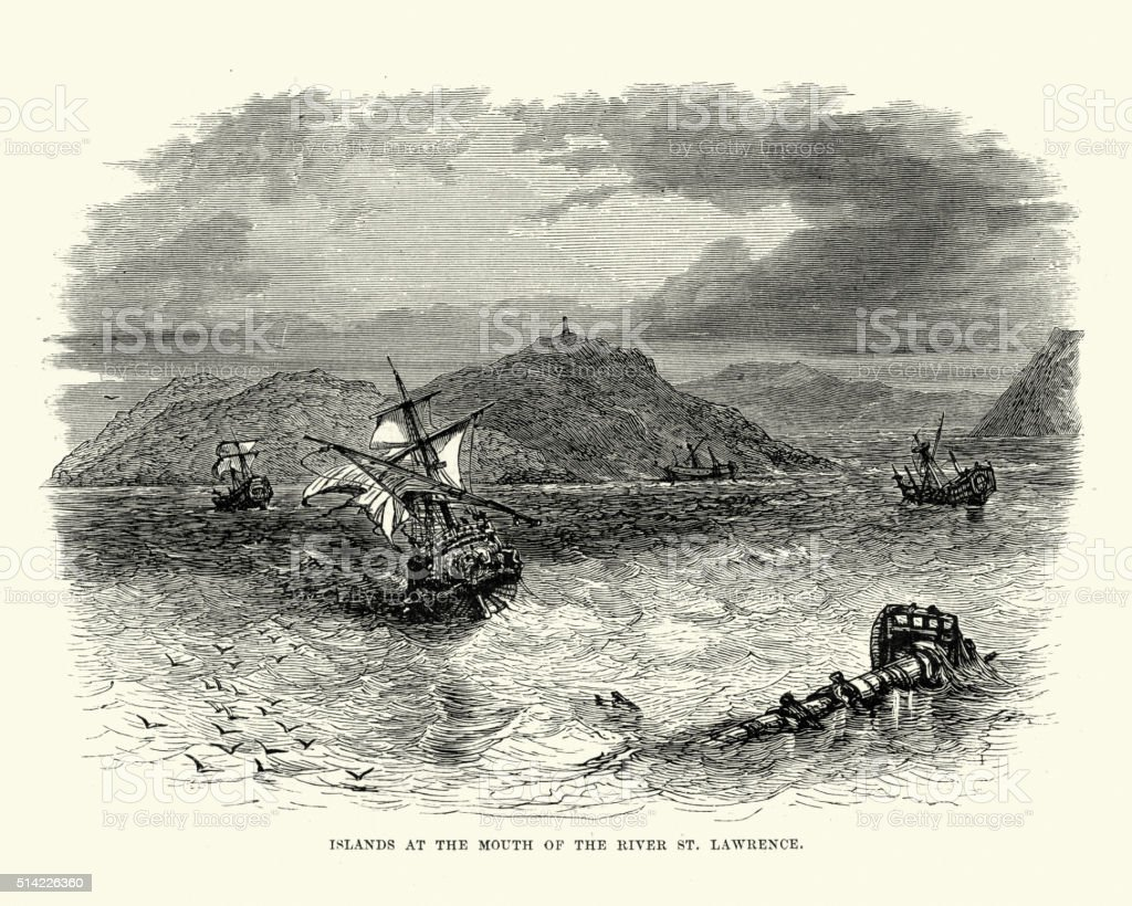Islands at the mouth of the St Lawrence River vector art illustration