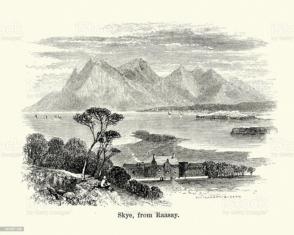 Isle of Skye, Scotland vector art illustration