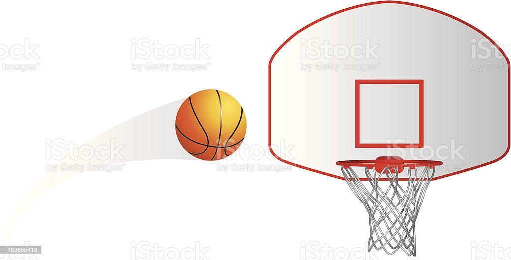Isolated basketball shot vector art illustration