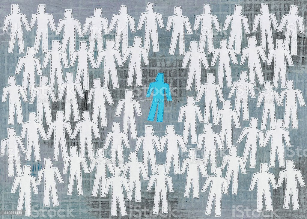 Isolated blue man vector art illustration