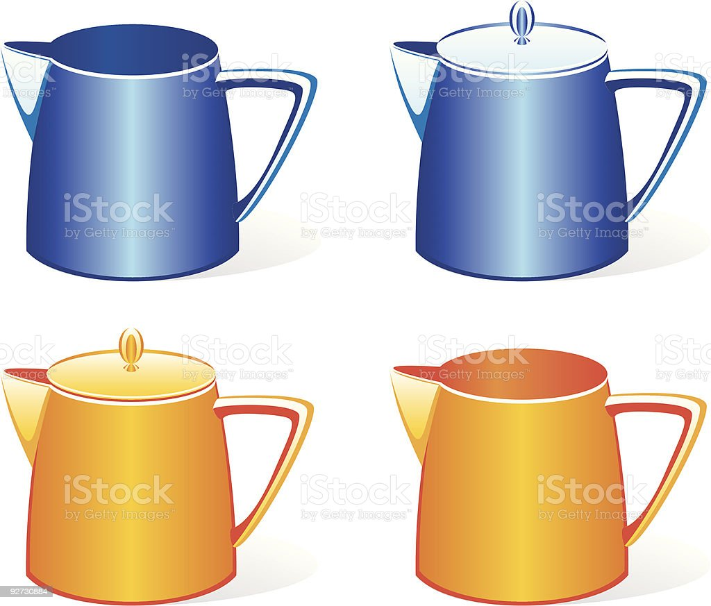 isolated colored milk jugs set royalty-free stock vector art