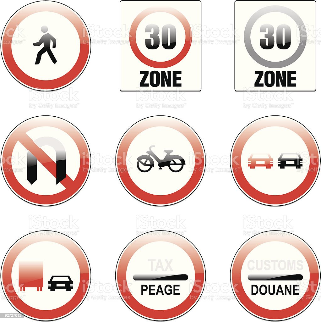 isolated european road signs royalty-free stock vector art