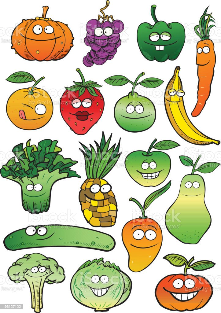 Isolated Healthy Fruits vector art illustration