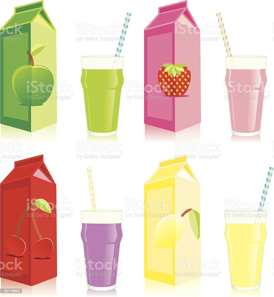 isolated juice boxes and glasses royalty-free stock vector art