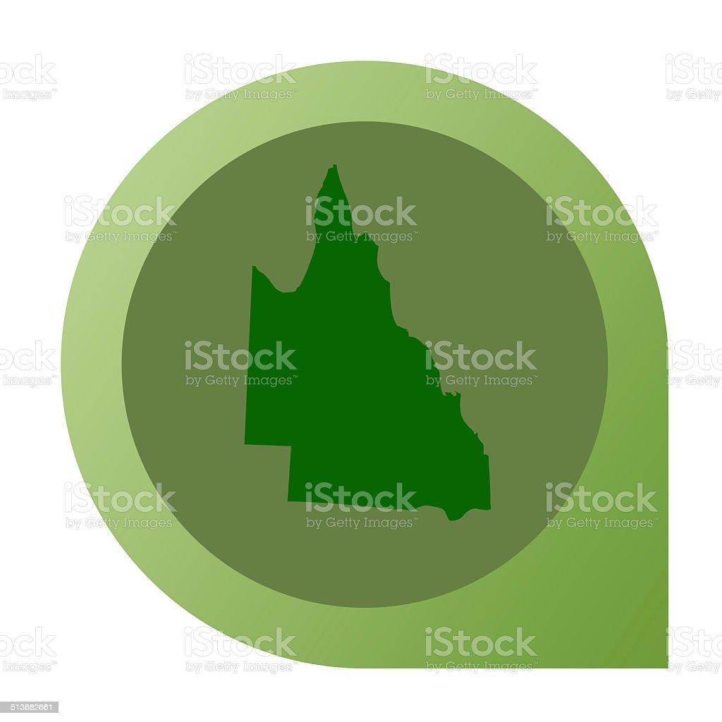 Isolated Queensland in Australia map marker pin vector art illustration