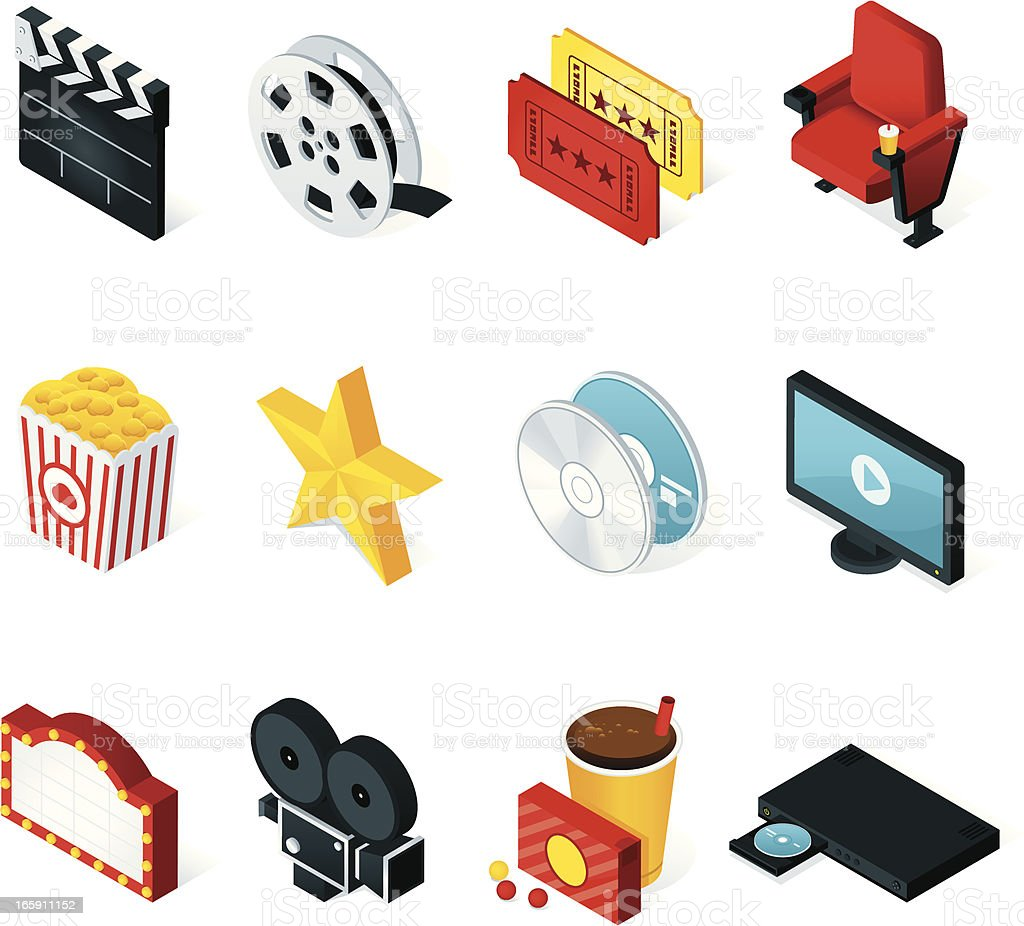 Isometric Movie Icons vector art illustration